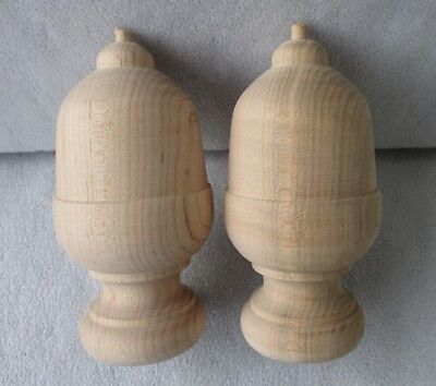 """PAIR NEW UNFINISHED SOLID MAPLE ACORN STYLE FURNITURE BED POST FINIALS  5"""" high"""