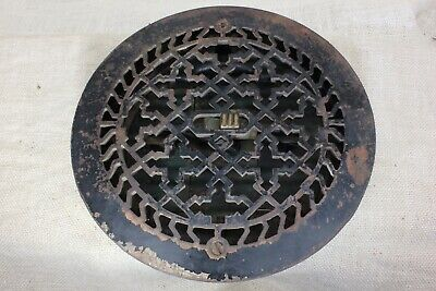"9 3/8"" round Heat Air conditioning grate register old geometric vintage paint"
