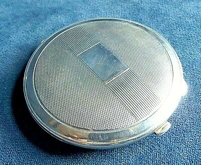 SUPERB ~ SOLID SILVER ~ ENGRAVED Compact CASE ~ B'ham 1941