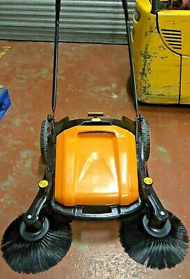 Manual Push Sweeper with 2 Side adjustable brush 50 liters bin yellow