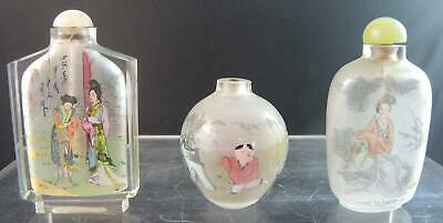 Three Vntage Chinese Reverse Painted Snuff Bottles - Colorful Scenes With People