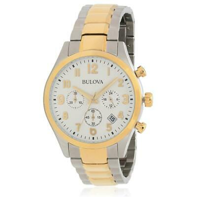Bulova Men's Two Tone Steel Bracelet Steel Case Quartz White Dial Watch 98B330