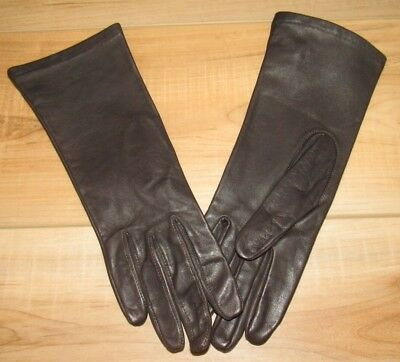 Vintage BROWN LEATHER DRIVING GLOVES Nylon Lined, Size 7