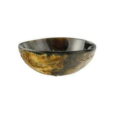 """3 3/4"""" Polished & Carved Horn Ritual Offering Bowl Wicca Pagan Altar Ceremonial"""