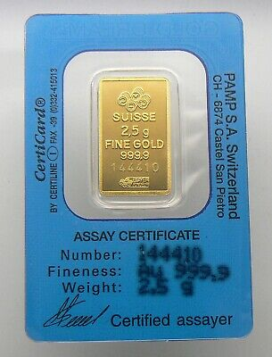 "2.5 Gram ""gold Dream"" Pamp Suisse 24K Gold Bar .9999 Bar #144410"