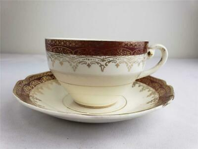 = Queen Anne By Stetson Coffee Tea Cup AND Saucer 22K Gold Filigree Maroon 1938