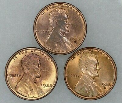 1935 P D S Lincoln Wheat Cent Penny 1C Choice Bu Uncirc Rb/Red 3 Coin Set (9020)