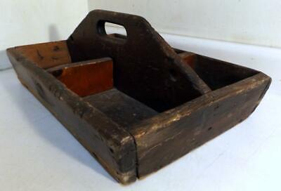 """Antique 13x20"""" Solid wood Carpenter/Tradesman Tote/Carrier w 5 Cubby Holes"""