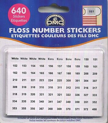 Floss Number Stickers  DMC Cross Stitch Needlepoint Sewing Notion