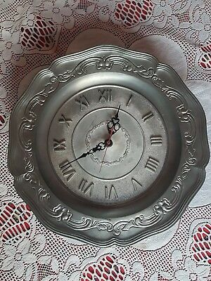 German Pewter Wall Clock by Ges Gesch 315mm diameter. Battery operated. Working