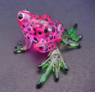 Little Glass FROG Pink Black Spotted Frog Painted Glass Animal Glass Ornament