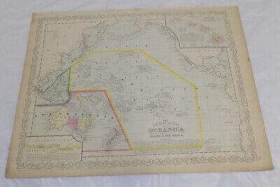 1856 COLOR Map/PACIFIC OCEAN, INCLUDING OCEANICA/AUSTRALIA/Charles Desilver