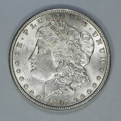 1897 Morgan Silver Dollar $1 Choice Bu Brilliant Unc Vam 6A Pitted Reverse (7936