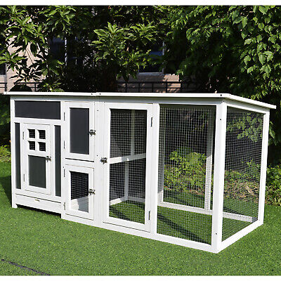 Deluxe Wood Chicken Coop Small Animal Cage Habitat PC Roof
