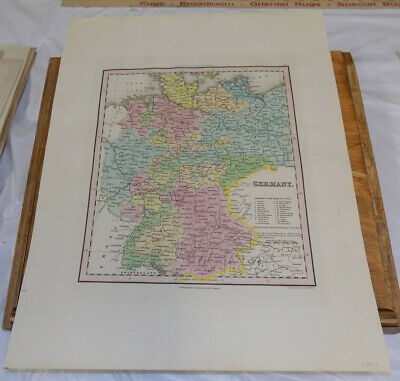 1843 Antique COLOR Map///GERMANY, published by H. S. Tanner