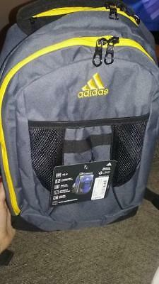 94af614ca5e3 New Adidas Atkins Backpack Bookbag Yellow Gray  5143919 Deluxe Media Pocket