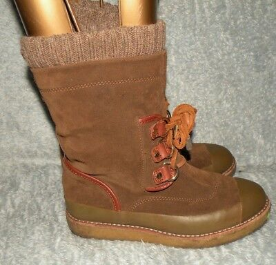 676becaa949 Women s Tory Burch Suede winter snow boots brown lace up sz 6 M crepe sole