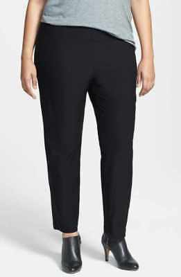 60809eb6cc7 EILEEN FISHER Black Slim Washable Stretch Crepe Knit Ankle Crop Pull-On  Pants 1X