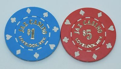 Set of 2 Jax Club $1-$5 Casino Chip Lovelock Nevada 8-Suits Mold 1980's