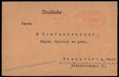 Germany 1923 Inflation Leipzig 1st Day Rate 50000 Mark Meter Cover 64550