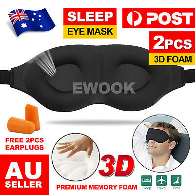 Travel Sleep Eye Mask soft 3D Memory Foam Pad Shade Cover Sleeping Blindfold