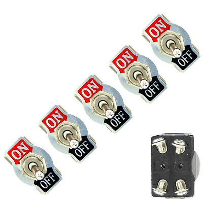 5Pc Metal 20A 125V 250V 15A DPST 4Pin ON/OFF Rocker Toggle Switch Car