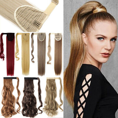Thick Long Wrap On Pony Ponytail Clip In Hair Extensions Real as Human Hair AU