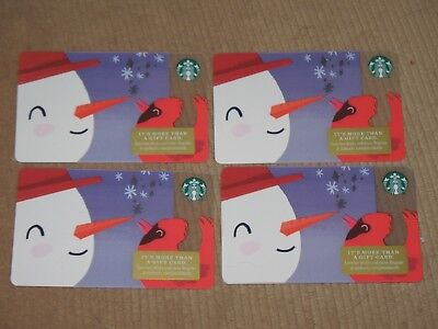 5 Starbucks 2018 Christmas Snowman And Red Robin Gift Cards - Brand New Lot !
