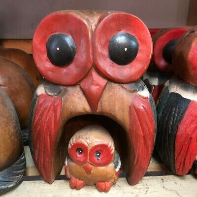 Large Solid Wood Hand Carved Coloured Owl Mother and daughter Wooden