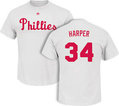 Bryce Harper Philadelphia Phillies Cooperstown White T-Shirt by Majestic  Majest