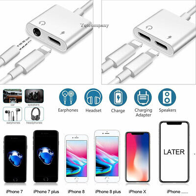 2in1 Dual Lightning Adapter Splitter Audio Earphone AUX Charger For iPhone 7 8 X