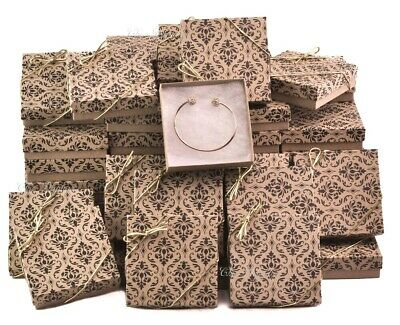 """Kraft Gift Boxes Large Cotton Filled Gift Boxes for Jewelry Gift Boxes 100Pc 2/""""H"""