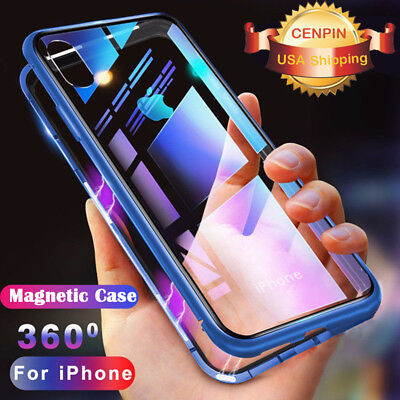 Metal Magnetic Adsorption Case For Apple iPhone X XS Tempered Glass Back Cover