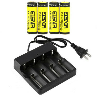 4X 9900mAh 3.7v 18650 rechargeable Li-Ion Battery with 1X USA Smart Charger