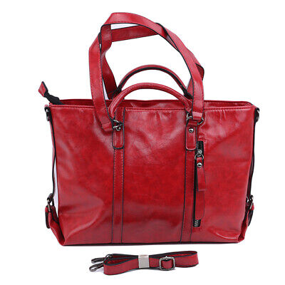 Women Elegent Leather Large Oil Wax Office Tote Vintage Briefcase Handbag Gift B