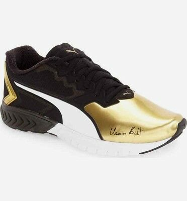 Puma Men's Ignite Dual Bolt Black Gold Running Shoes 11.5