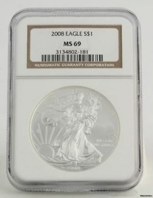 2008 American Silver Eagle - NGC MS69 1oz .999 One Dollar ASE Investment Coin