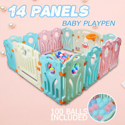 14 Panel Baby Playpen Toddler Children Safety Divider Fence  Indoor +100 balls