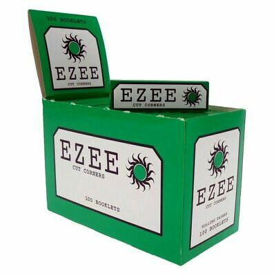 Full Box of EZEE Green Rolling Cigarette Papers Standard Size Cut Corner.