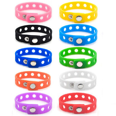 Lot of 10 Adult Kids Silicone Wristband Pack for Charms Jibbitz Rubber Bracelet