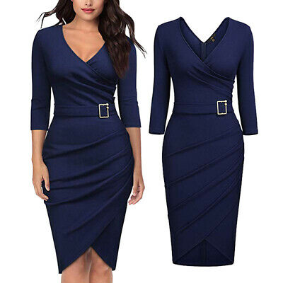 Women Spring Fashion V-neck Buckle Casual Solid Color Pleated Bodycon Dress B