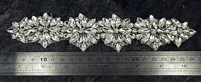 Diamante Applique Motif Crystal Patch Sew on Bridal Dress Belt, Hair Band D14
