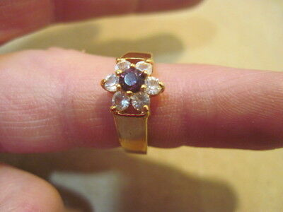 C Old Womens Gold Color Red & White Stone Ring Jewelry Size 6