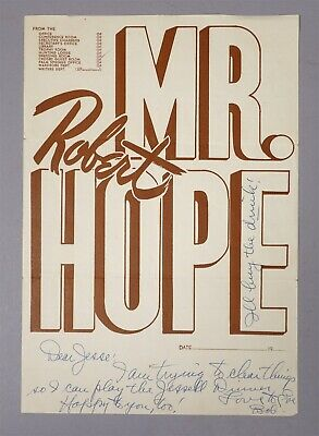 Estate Found Signed Bob Hope Autograph Movie Studio Flier to Jesse Block