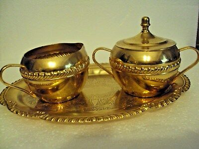 Beautiful Vintage Sugar&Creamer with edged oval Tray, gold Tones