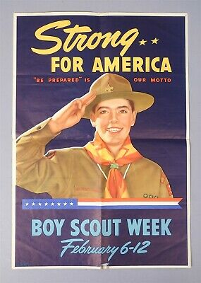 Estate Found WWII Era Boy Scouts Week Strong for America Be Prepared Poster
