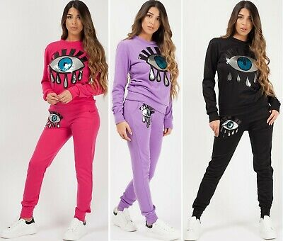 Sequin Eye Co-ord Loungewear Tracksuit 2 Piece Set Applique Casual Womens Ladies