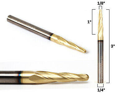 """1/8"""" Tapered Ballnose ZRN Coated CNC Router Bit - 1/4"""" Shank - Yonico 37413-SC"""