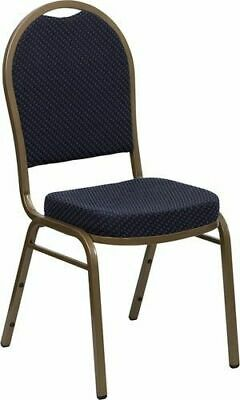 10 PACK Banquet Chair Navy Patterned Fabric Restaurant Chair Dome Back Stacking