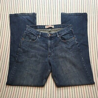 136 Wrangler Jeans Co Mens Denim Relaxed Boot Medium Wash BLUE Distressed 30 32